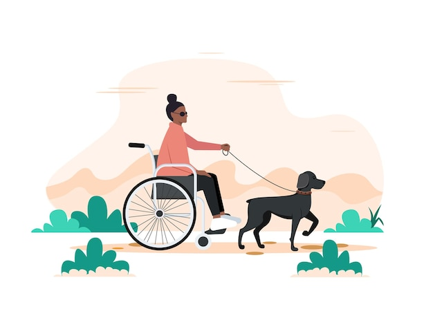 Een hond en een gehandicapte zwarte vrouw in een rolstoel. wandelen met de hond seeing eye.