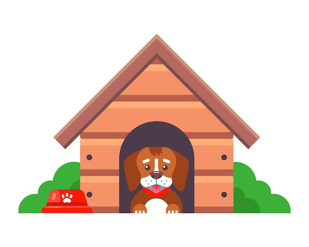 Een hond in een hokje bewaakt een boerderij buiten de stad. platte karakter illustratie