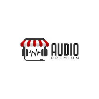Een hoofdtelefoon met een winkeldak erop, perfect voor elk logo van een muziekwinkel of een logo van een audiowinkel.