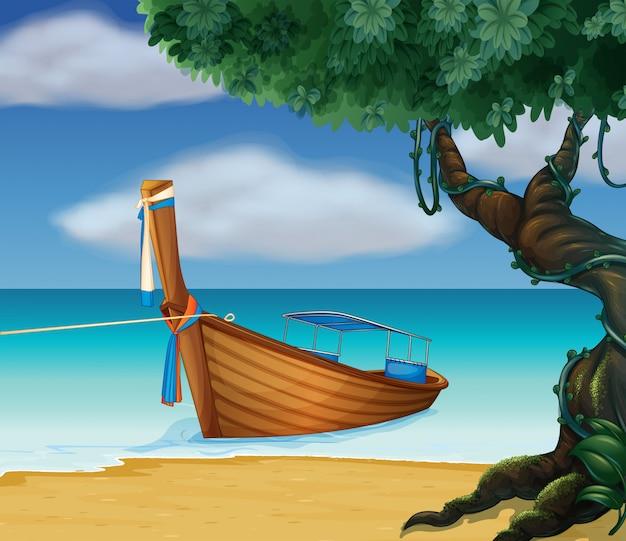 Een houten boot aan de kust
