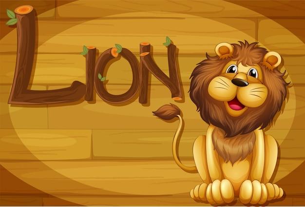 Een houten frame met een leeuw