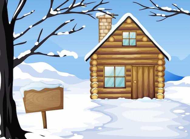 Een houten huis in de buurt van het lege bord