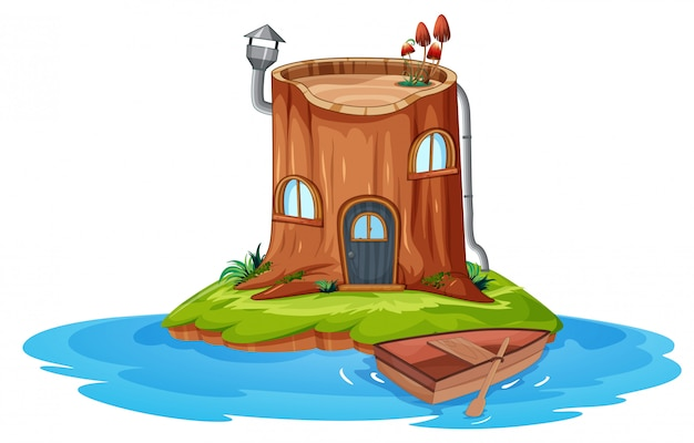 Een houten huis op klein eiland