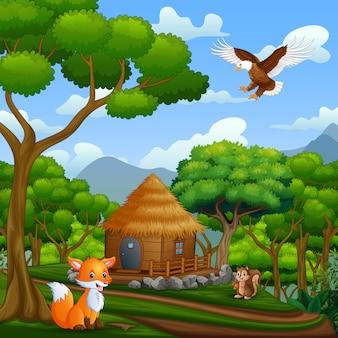 Een houten huisje en dieren in het midden van het bos