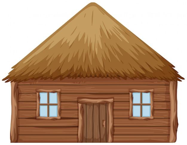 Een houten hut op witte achtergrond