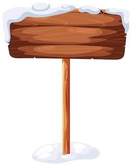 Een houten spandoekhoes met sneeuw