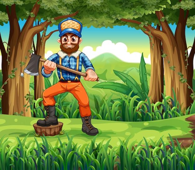 Een houthakker die bij een stomp in het bos stapt