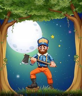 Een houthakker in het bos in het midden van de nacht
