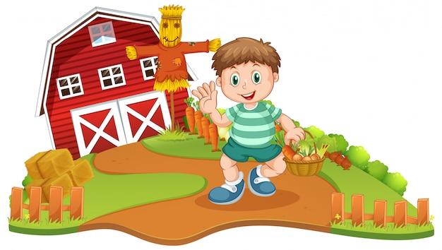 Een hoy oogstgroente op boerderij