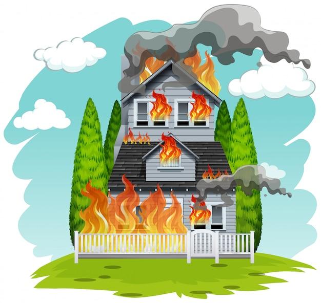 Een huis in brand