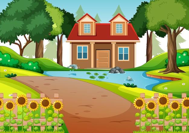 Een huis in de natuurscène