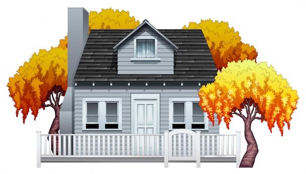 Een huis met hek
