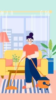 Een huisvrouw aan het schoonmaken