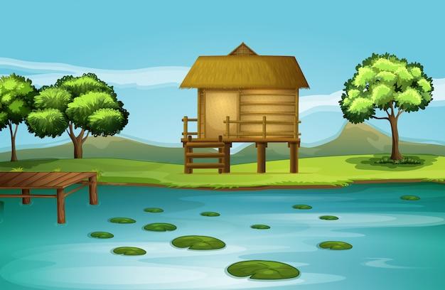 Een hut aan de rivieroever