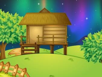 Een hut in de natuur