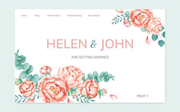 Een huwelijkskaart met bloementhema