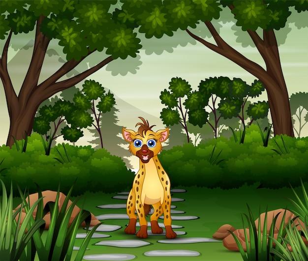 Een hyena-cartoon die in de jungle leeft