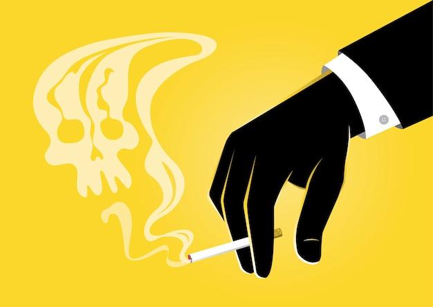 Een illustratie die van zakenmanhand een brandende sigaret met rook houdt die op een schedel lijkt