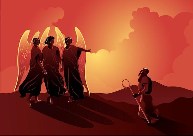 Een illustratie van abraham wordt verteld dat zijn vrouw sara hem een zoon zal baren. bijbelse serie