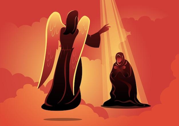 Een illustratie van angel bezoekt maria. de aankondiging aan de heilige maagd maria. bijbelse serie