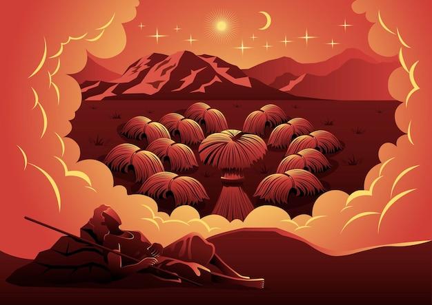 Een illustratie van de droom van jozef, de zoon van jacob, over het binden van schoven koren omringde de schoof van jozef en boog zich ervoor. bijbelse serie