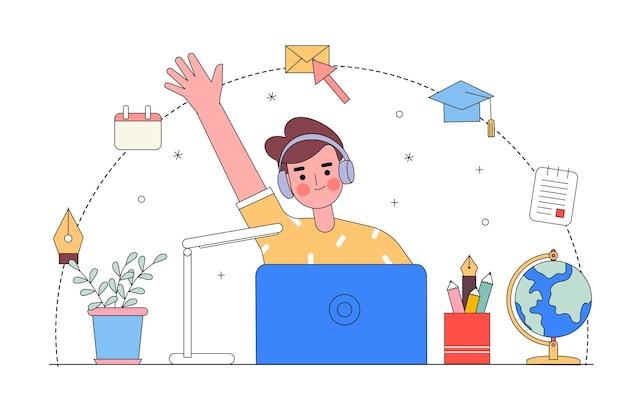 Een illustratie van de jongeren die online leren