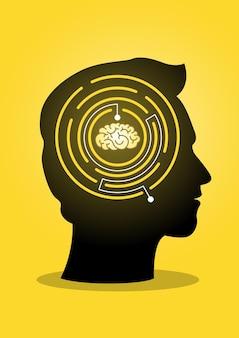 Een illustratie van een gigantisch hoofd met labyrintlabyrint en hersenen. illustratie