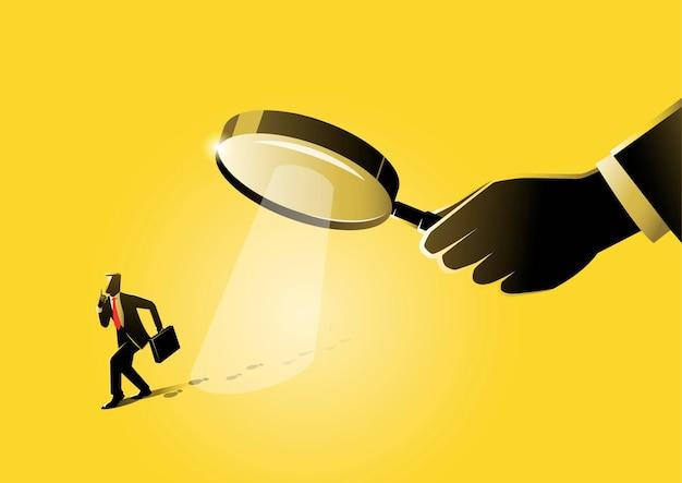 Een illustratie van een gigantische hand met vergrootglas op zoek naar bewijs
