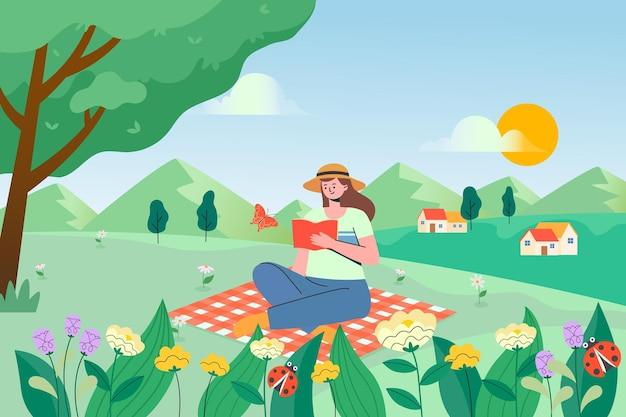 Een illustratie van een meisjeszitting op de graslezing
