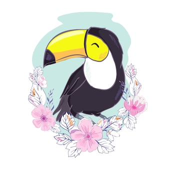 Een illustratie van een mooie toekan in vector-formaat. een leuke afbeelding van de toekanvogel voor het onderwijs en de pret van het kind in kinderdagverblijf en scholen, en decoratiedoeleinden