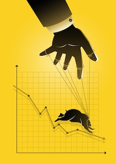 Een illustratie van een poppenspeler die de grafische kaart van de bearish aandelenmarkt controleert