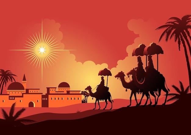 Een illustratie van een reis van drie wijzen naar bethlehem. bijbelse serie