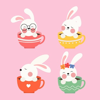 Een illustratie van een schattig konijntje in een kopje
