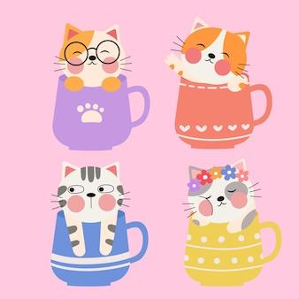 Een illustratie van een schattige kleine kat in een kopje