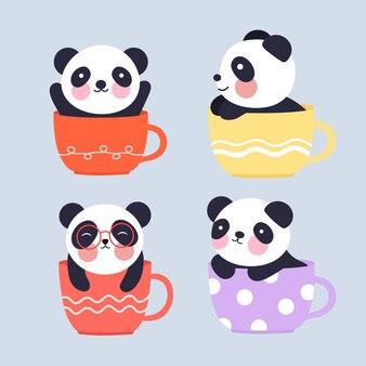 Een illustratie van een schattige kleine panda in een kopje