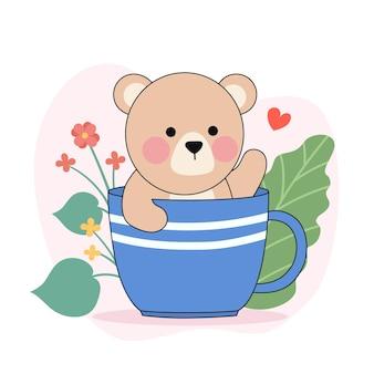 Een illustratie van een schattige kleine witte beer in een kopje