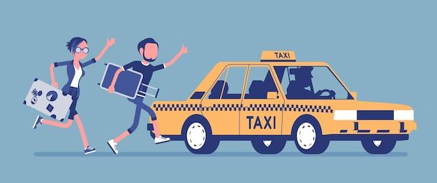 Een illustratie van een taxicabine achtervolgen