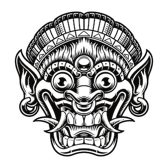 Een illustratie van een traditioneel bali-masker. deze illustratie kan worden gebruikt als shirtprint of als logo voor een aziatisch thema