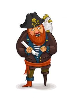 Een illustratie van een vriendelijke cartoon piraat die een schatkaart