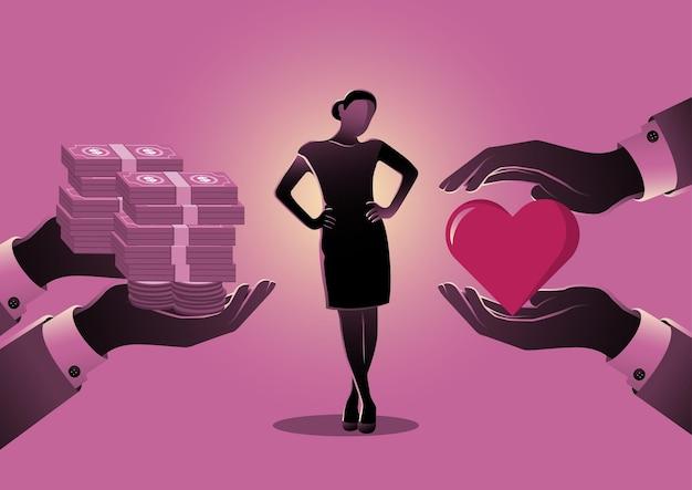 Een illustratie van een vrouw die tussen liefde of geld kiest