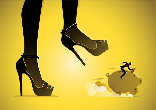Een illustratie van een zakenman die op een spaarvarken rijdt en onder een gevaarlijke vrouwenvoet loopt, klaar om erop te stappen.