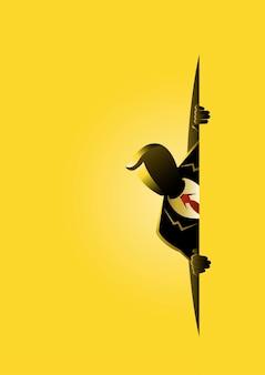 Een illustratie van een zakenman die rond op gele achtergrond sluipt