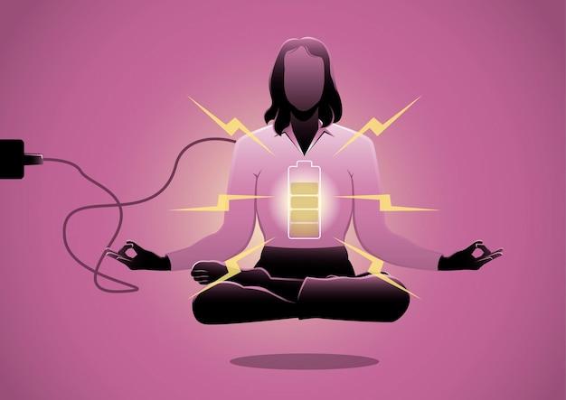 Een illustratie van een zakenvrouw die op de vloer mediteert met een batterij-indicator. energieoplaadconcept