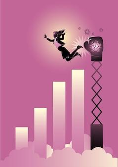 Een illustratie van een zakenvrouw die wordt geraakt door een grote bokshandschoen. recessie concept