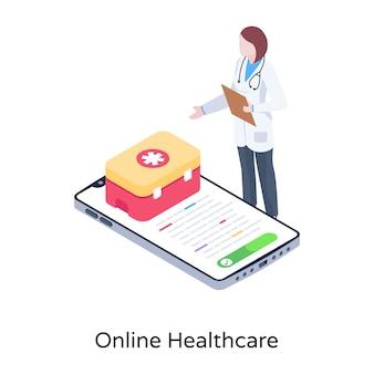 Een illustratie van een ziekenhuisbrancard in modern isometrisch ontwerp