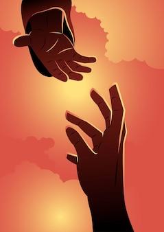 Een illustratie van god die de helpende hand geeft. bijbelse serie