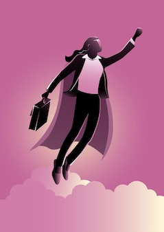 Een illustratie van heldenzakenvrouw met supermacht die vliegt