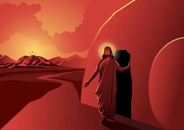 Een illustratie van jezus liep uit een graf