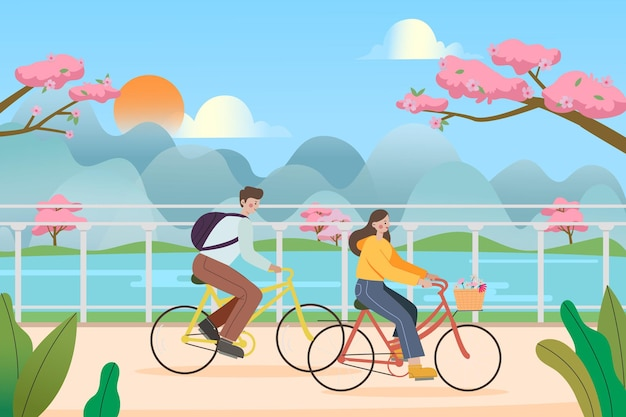 Een illustratie van jonge mensen die buiten fietsen berijden