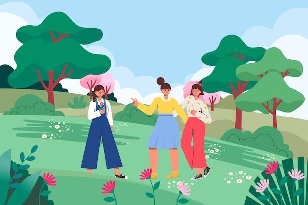 Een illustratie van meisjes die op een lenteuitje uitgaan